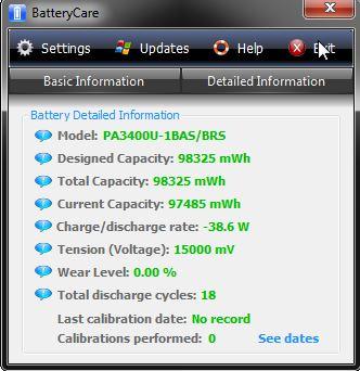 Sprawdzanie poboru prądu w Battery Care