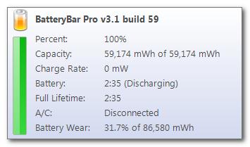 Zużycie baterii w aplikacji battery bar.