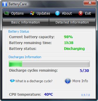 Zużycie baterii w programie battery care
